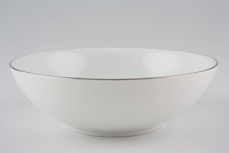 Thomas - Medaillon Platinum Band- White with Thin Silver Line - Fruit Saucer