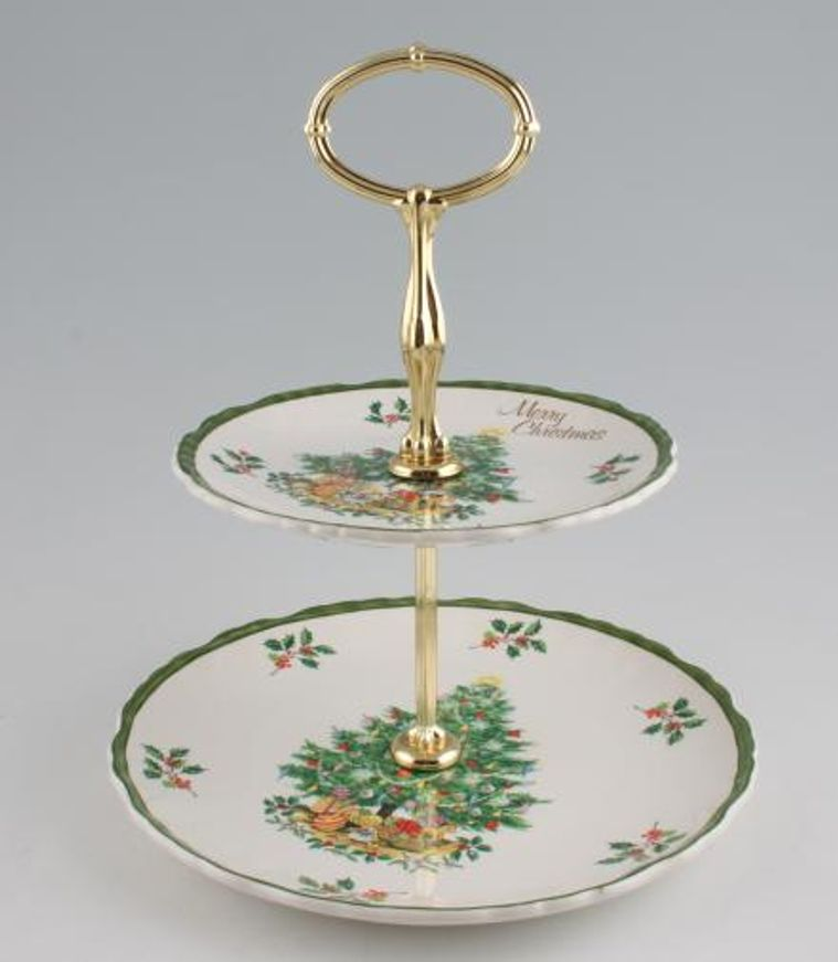Various - Cake Stands - Cake Stand - 112 - 2 Tier - Old Foley - Christmas Tree - 8 3/4